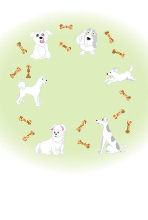 白い犬と骨かわいいグリーティング カードのイラスト 写真素材