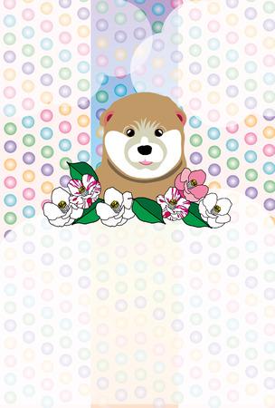かわいい Shiba Inu の子犬、ツバキの花のグリーティング カード