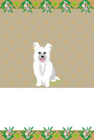 白い犬のフェミニンなメッセージ カード