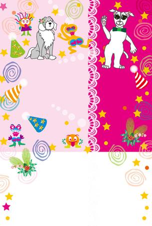 ポップ ピンク サングラス犬グリーティング カード