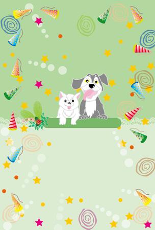 かわいい犬と猫の緑のグリーティング カード 写真素材