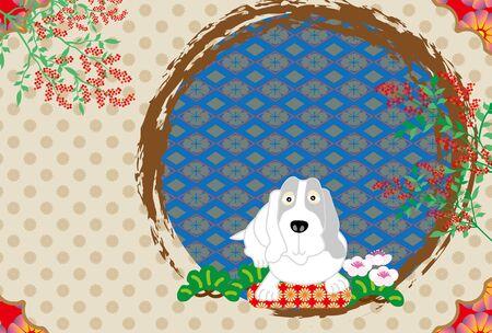 Japanese pop dog postcard template dog year 2018 Stock Photo