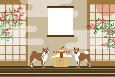 柴犬、和室、南と日の出あいさつテンプレート 写真素材