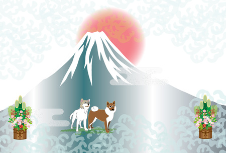 Sunrise and kadomatsu, Shiba Inu and Mt. Fuji Japanese postcard template cards material