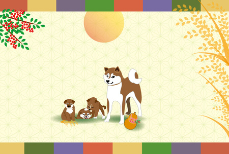 Gourd and rice with Shiba Inu Japanese postcard template cards material