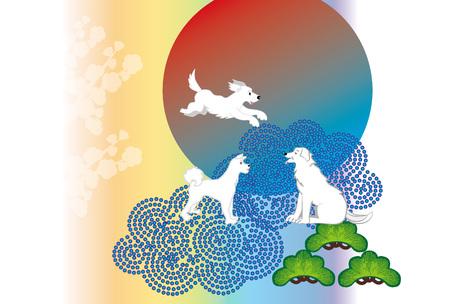 白い犬と日の出はがきテンプレート挨拶