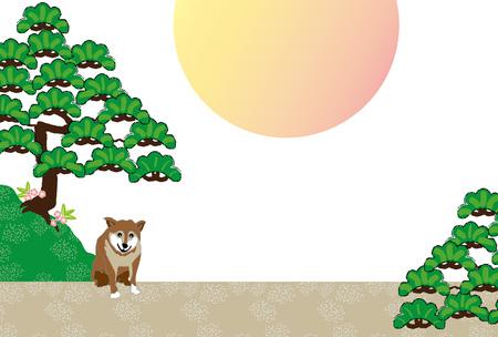 柴犬と松の木と日の出グリーティング カード