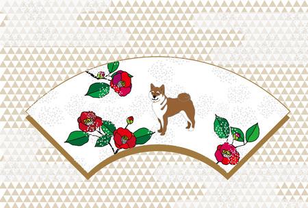 日本芝犬と赤い椿の花扇型デザインはがき 写真素材
