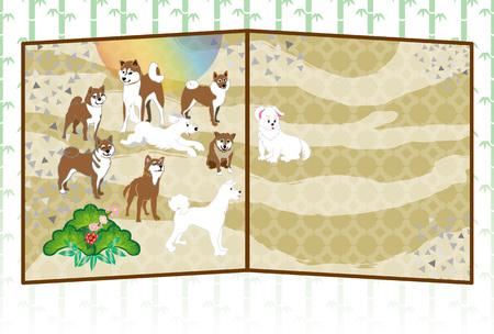 柴犬と日の出はがきテンプレート 写真素材