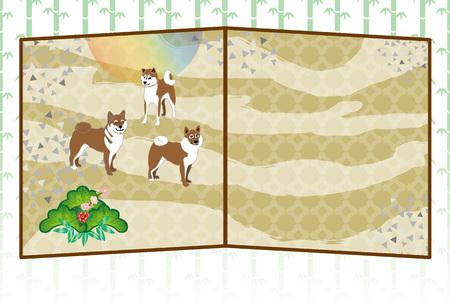 柴犬と松の木と梅の花スタイル グリーティング カード カード素材