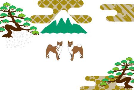 柴犬と富士山と松の木はがきカード素材