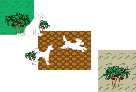 白い犬と槍花はがきテンプレートの和風デザイン