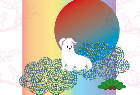 白い犬と日の出と梅の花スタイルはがきカード素材 写真素材
