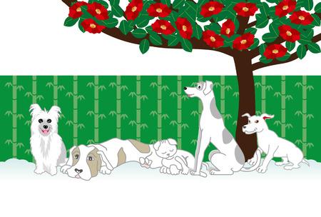 犬と猫と椿の花のポストカード テンプレート投稿