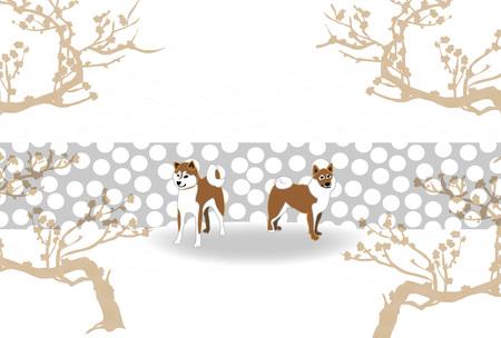 芝犬と梅の木はがきグリーティング素材