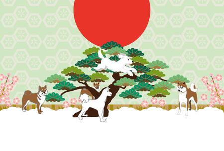 柴犬、日の出、松と梅の花はがきカード材料