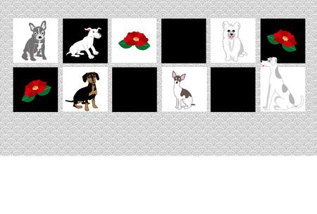 犬と椿の花メッセージ カード カード素材のチェッカー ボード パターン 写真素材