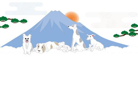 日の出と富士山富士日本の犬ポップはがきテンプレート 写真素材