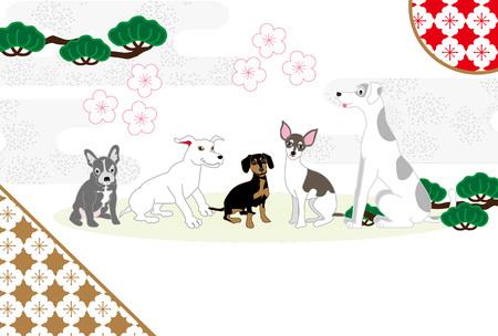 スタイリッシュな和柄龍と犬ポストカード帽子?