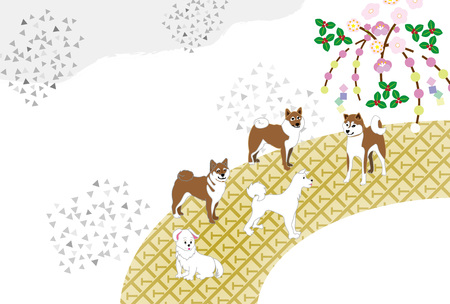 芝犬のはがきテンプレート カード素材 写真素材