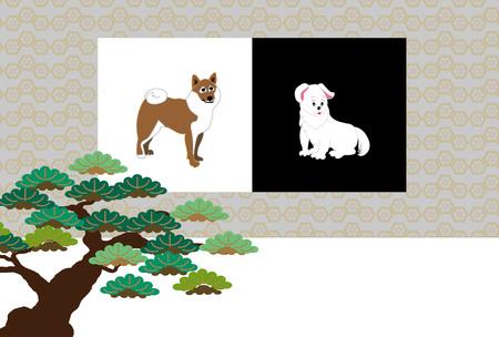 柴犬とパイン木製のスタイリッシュなはがきカード素材
