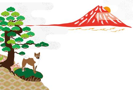 赤富士・松・芝妖狐日本のグリーティング カード カード素材