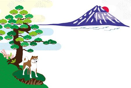 柴犬と富士山と松の木のはがきテンプレート カード素材 写真素材