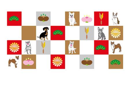 梅と松と犬のグリーティング カードのチェッカー ボード パターンをポップします。