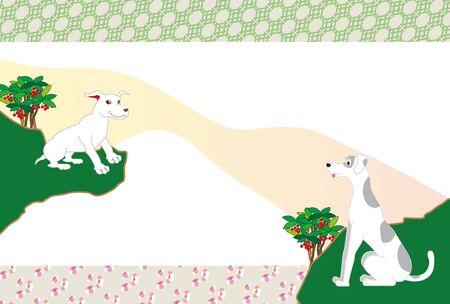 和風はがきで 2 匹の犬と花を槍します。