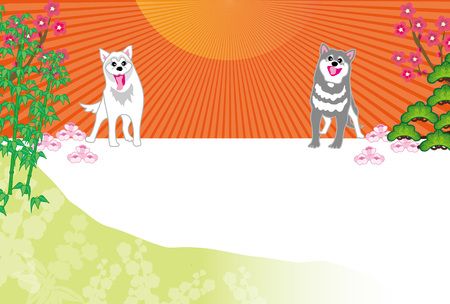 Japanese pop in Sunrise and two dogs postcards