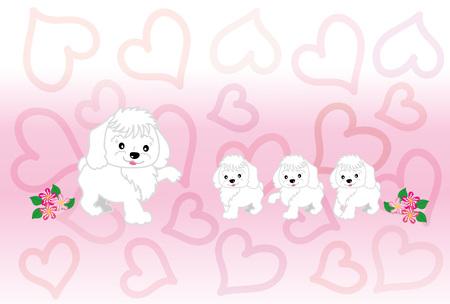 心のパターンとメッセージ カード子かわいい白い犬