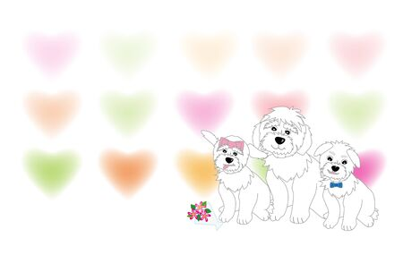Message card child cute white dogs with heart pattern