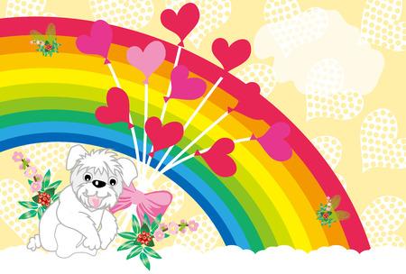 カラフルな虹、風船やかわいい犬ポストカード