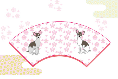 2 匹のかわいい犬とピンク花和風ポストカード