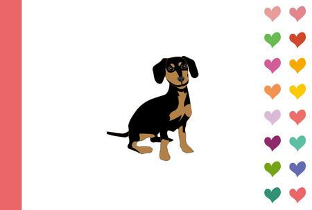 ハート パターン ファッショナブルなはがきテンプレートを持つ犬 写真素材