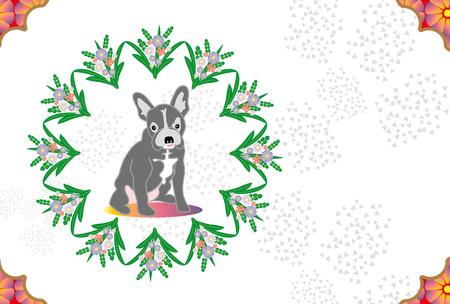 かわいい犬と花のグリーティング カードのイラスト