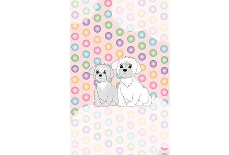ピンクのかわいい犬のイラストはがき