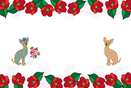 Cute heart pattern dog and a red Camellia flower greeting cards