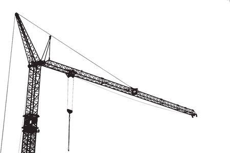 Construction crane isolated on white photo