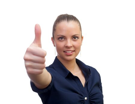 Smiling business woman , with thumb up sign Stock Photo