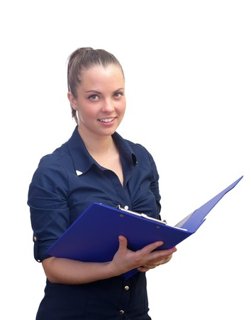 Portrait of a confident business woman holding office file Stock Photo - 26222372