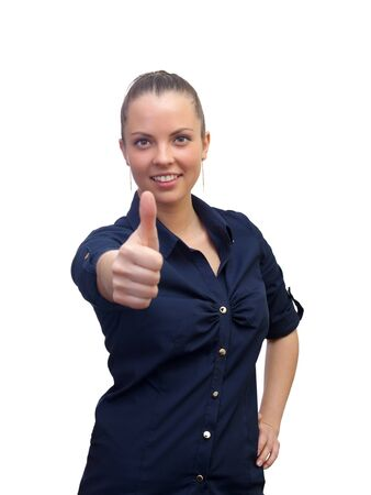 Smiling business woman , with thumb up sign photo