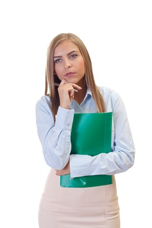 Portrait of a beautiful young business woman on isolated Stock Photo - 26331780
