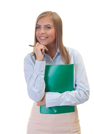 Portrait of a beautiful young business woman on isolated  Stock Photo - 26331781