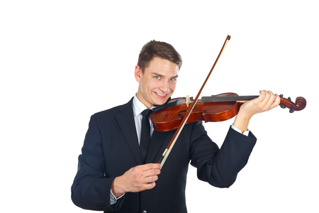 soloist: Confident soloist playing on his violin