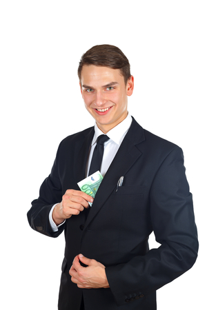 Portrait of a confident businessman holding a money after a deal Stock Photo - 26332039