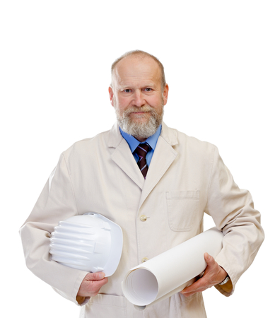 Portrait of a confident engineer holding the blueprint