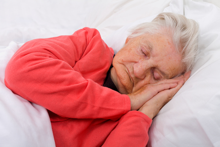 Portrait of a beautiful sleeping elderly lady
