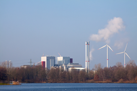 energy production: Picture of an industrial view of factory and smoke pollution