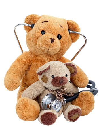 doctor toys: Picture of two teddy bears on isolated background